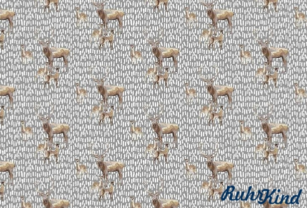 0,5m Canvas Deer Family Grau