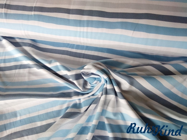 0,5m Jersey Stripes Brushed Marine Grau